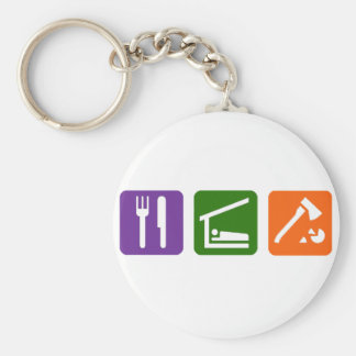 Eat Sleep Chopping Wood Basic Round Button Key Ring