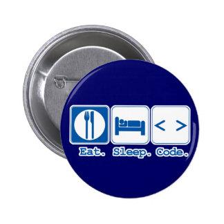 eat sleep code (html) 6 cm round badge