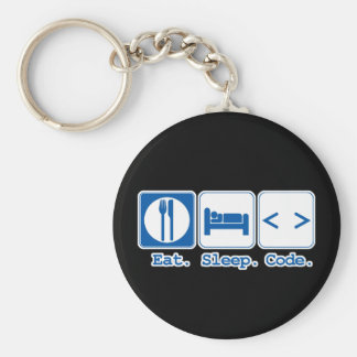 eat sleep code (html) basic round button key ring