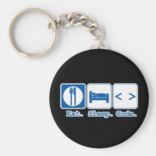 eat sleep code (html) keychain