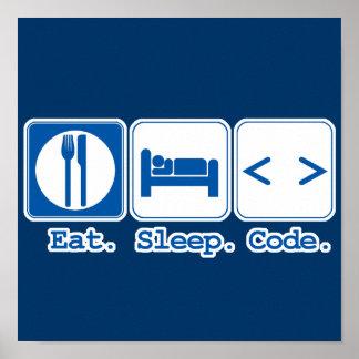 eat sleep code html posters