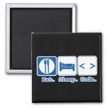 eat sleep code (html) square magnet