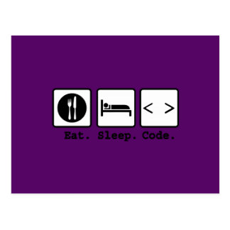 eat sleep code Nerd Wear Postcard