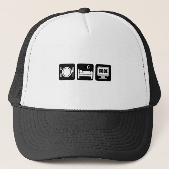 eat sleep code trucker hat