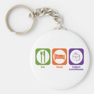 Eat Sleep Collect Lunchboxes Basic Round Button Key Ring