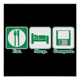 eat sleep computer green posters