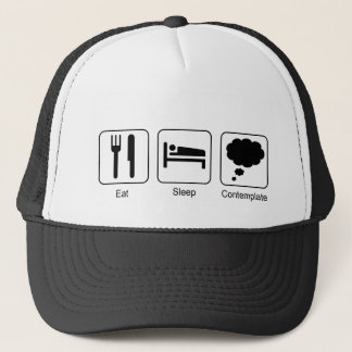 Eat, Sleep, Contemplate Fun Vector Graphic Design Trucker Hat