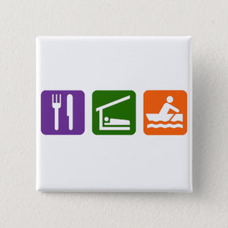 Eat Sleep Crewing 15 Cm Square Badge