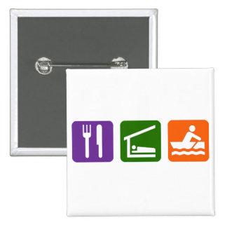 Eat Sleep Crewing 15 Cm Square Badge