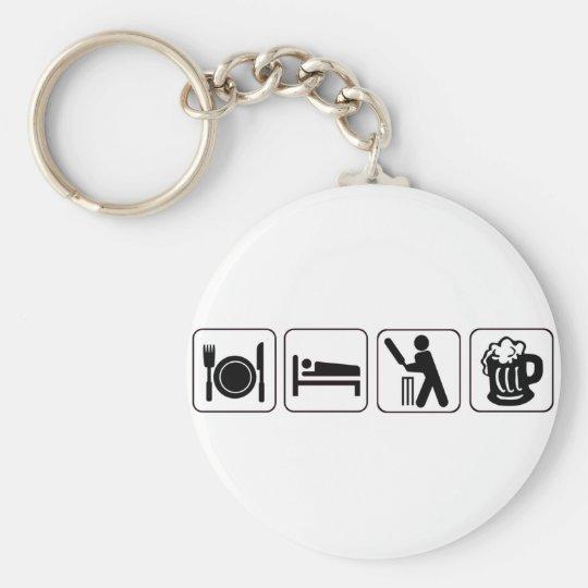 Eat, sleep cricket, beer. Funny design cricketers Key