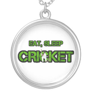Eat Sleep Cricket Silver Plated Necklace