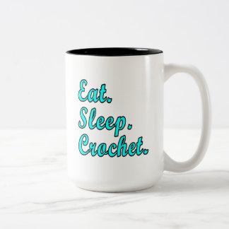 Eat. Sleep. Crochet. Two-Tone Coffee Mug