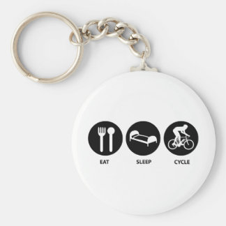 Eat Sleep Cycle Basic Round Button Key Ring