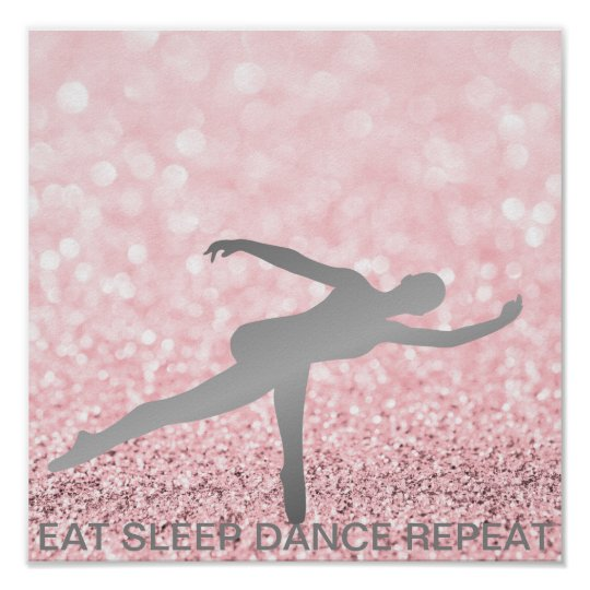 Eat Sleep Dance Repeat Silver Gray Pink Glitter