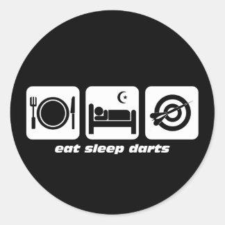 Eat sleep darts round stickers