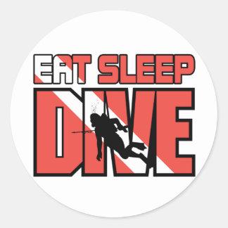 Eat Sleep Dive Round Sticker