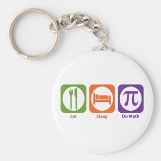Eat Sleep Do Math Basic Round Button Key Ring
