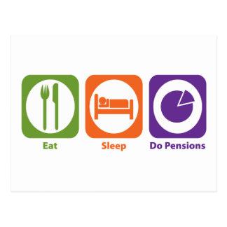 Eat Sleep Do Pensions Postcard