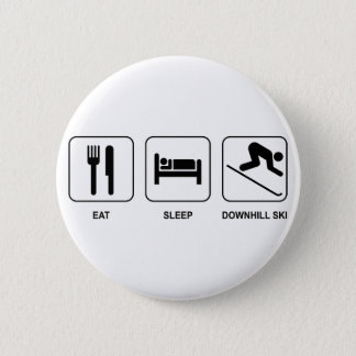 Eat Sleep Downhill Ski 6 Cm Round Badge