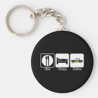 eat sleep drive taxi basic round button key ring