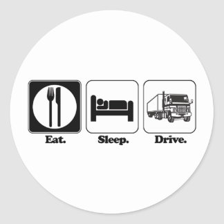 eat sleep drive truck round sticker