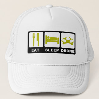 EAT SLEEP DRONE White Trucker Hat