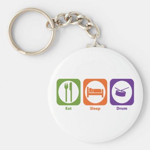 Eat Sleep Drum Basic Round Button Key Ring