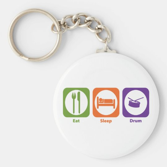 Eat Sleep Drum Basic Round Button Key Ring
