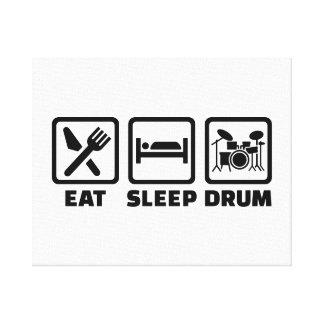 Eat Sleep drum Stretched Canvas Print