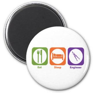 Eat Sleep Engineer 6 Cm Round Magnet