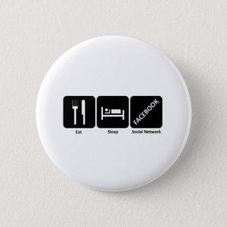 Eat sleep fackbook 6 cm round badge