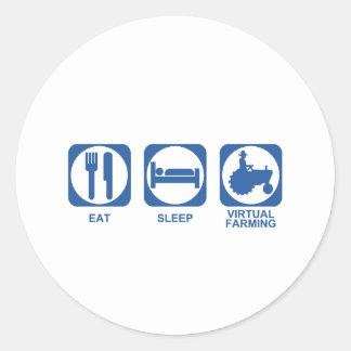Eat Sleep Farm Round Sticker