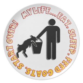 EAT SLEEP FEED GOATS - MY LIFE! PLATES