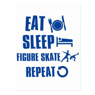 Eat sleep figure skate post card
