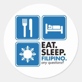 Eat Sleep Filipino - Blue Round Sticker