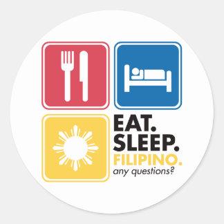 Eat Sleep Filipino Round Stickers