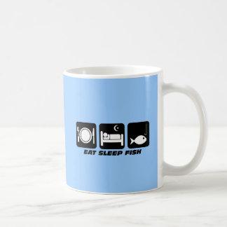 eat sleep fish basic white mug