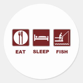 Eat Sleep Fish fishing gifts Round Sticker