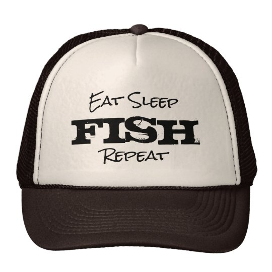 EAT SLEEP FISH REPEAT retirement gift trucker hat