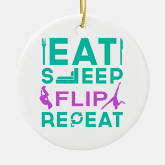 Eat, Sleep, Flip, Repeat Gymnastics Gifts Round Ceramic Decoration