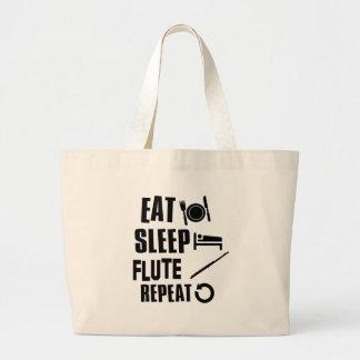 Eat Sleep Flute Large Tote Bag
