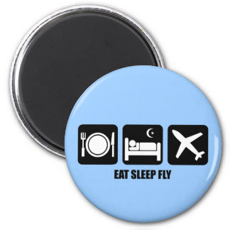 eat sleep fly 6 cm round magnet