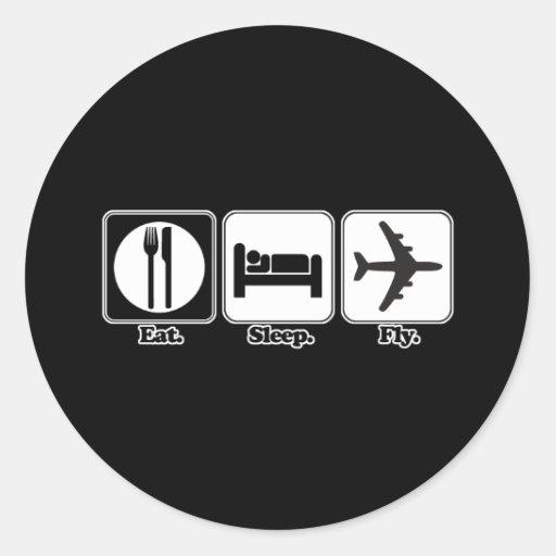 eat sleep fly sticker
