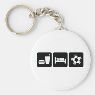 Eat Sleep Football / Soccer Basic Round Button Key Ring