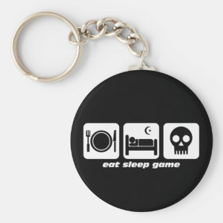 Eat sleep game basic round button key ring