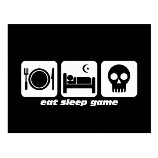 Eat sleep game postcard