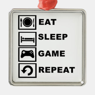 Eat, Sleep, Game, Repeat. Silver-Colored Square Decoration