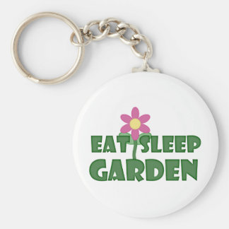 Eat Sleep Garden Basic Round Button Key Ring