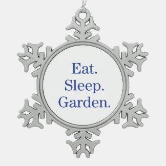 Eat. Sleep. Garden. Snowflake Pewter Christmas Ornament