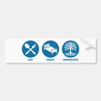 Eat Sleep Genealogy Car Bumper Sticker